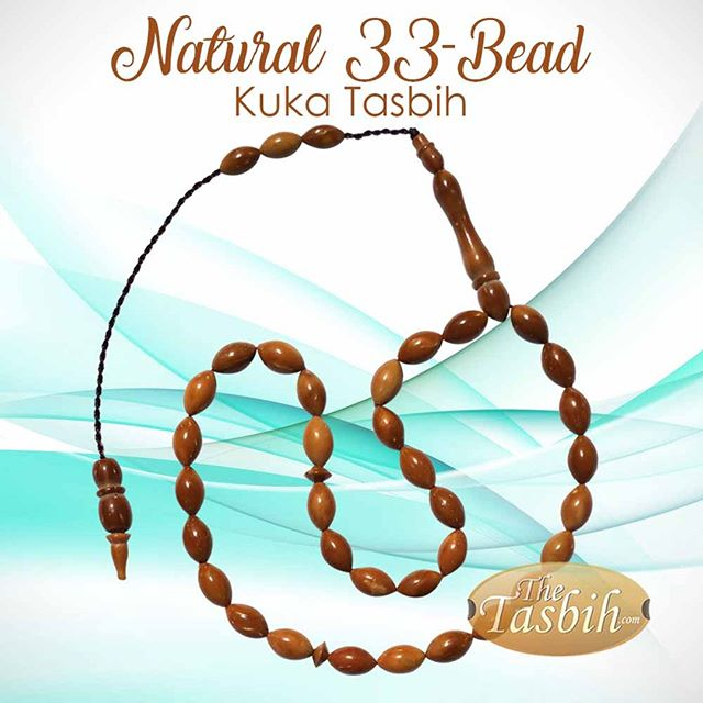 Natural Genuine Turkish-style Kuka (koka-kauka) Tasbih with 33 Oval Beads