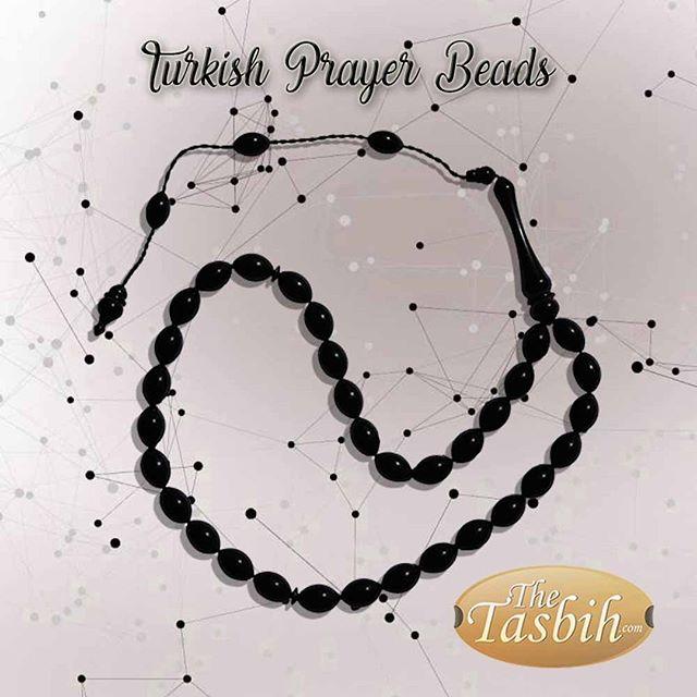 Pitch Black Monomer 33-bead Turkish-style Tesbih Prayer Beads