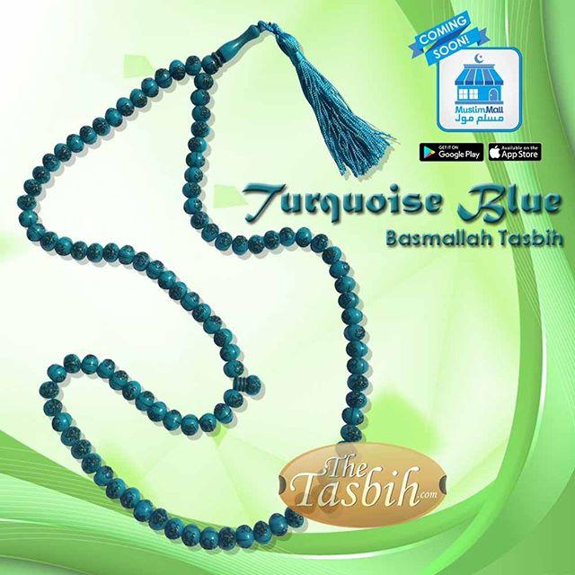 Turquoise Blue Islamic Quran Tasbih with Arabic Basmallah on Each Bead