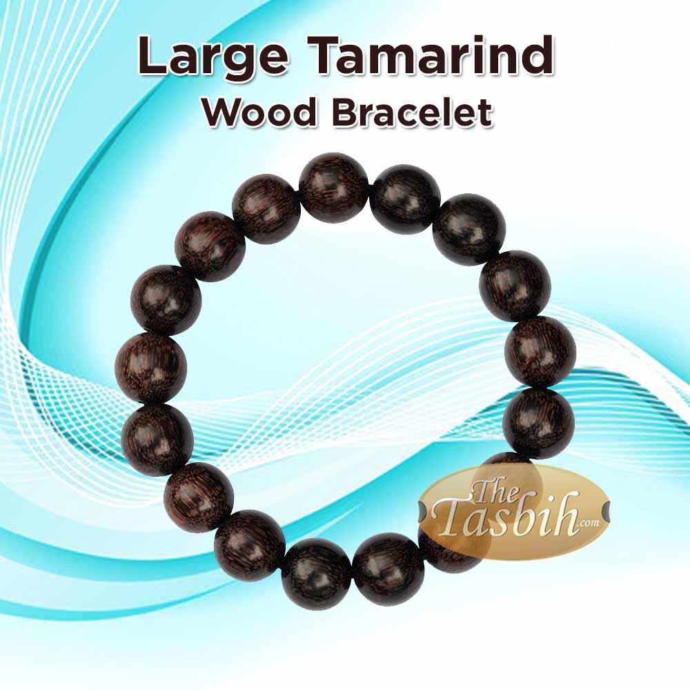 Dark Brown Dense Tamarind 12mm Wood 8-inch Bracelet on Elastic Cord