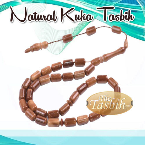 Natural Kuka Tasbih with Antique Finish - 33-bead Barrel Shape
