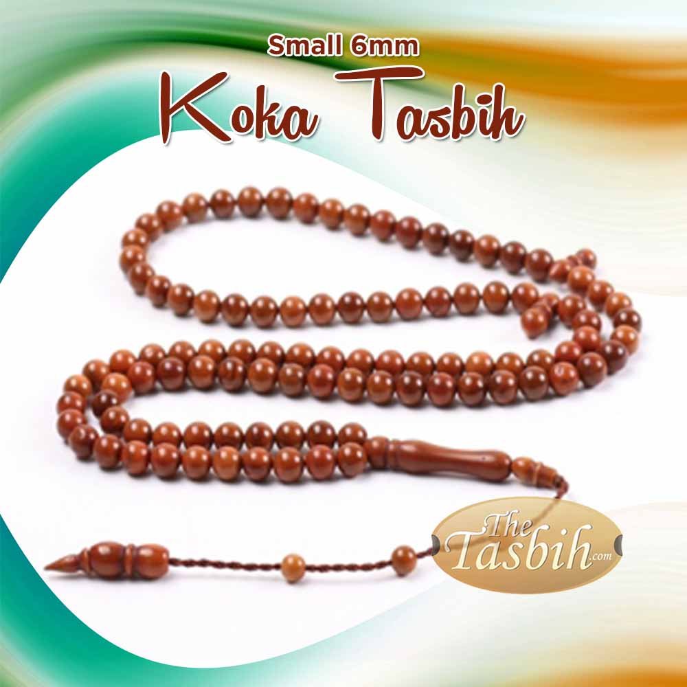Antique-finish Natural Kuka Tasbih with Small 6mm beads Made in the Turkish