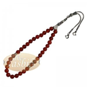 Red Carnelian Agate 33-bead Tasbih Prayer Beads Star Crescent Charms
