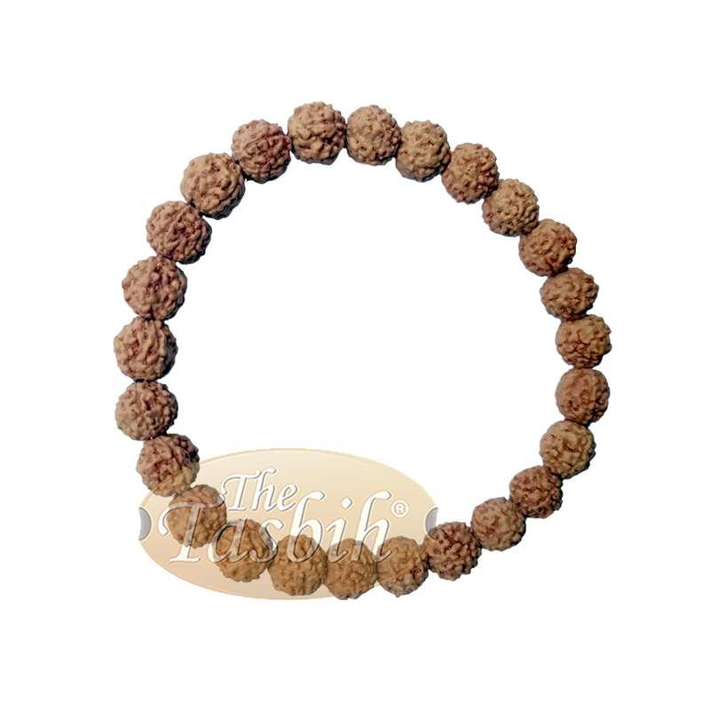 Bracelet Jenitri Rudraksha Seed 9mm with 25 Beads on Black Elastic Cord Unisex