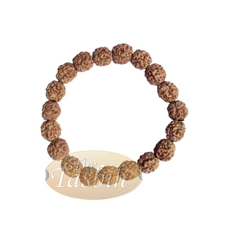 Rustic Exotic Handmade Bracelet Jenitri Rudraksha Seed 12mm with 19 Beads on Black Elastic Cord Unisex
