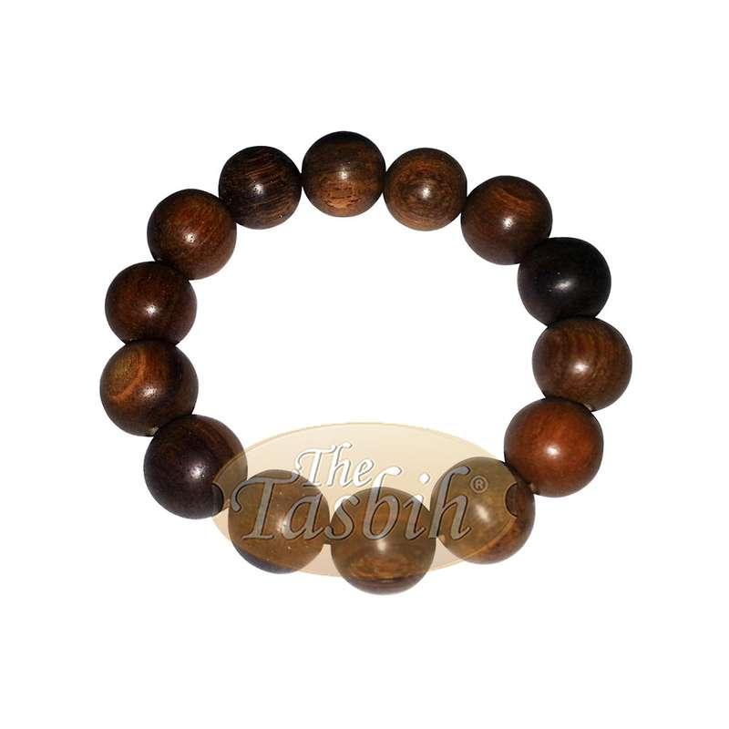 Extra-Large Agarwood Oud Aloeswood Bead Bracelet 14mm with Elastic Genuine Gaharu