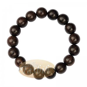 Large 12mm Handmade Dark Tamarind Wood Bracelet On Elastic Cord 8-inch Durable String