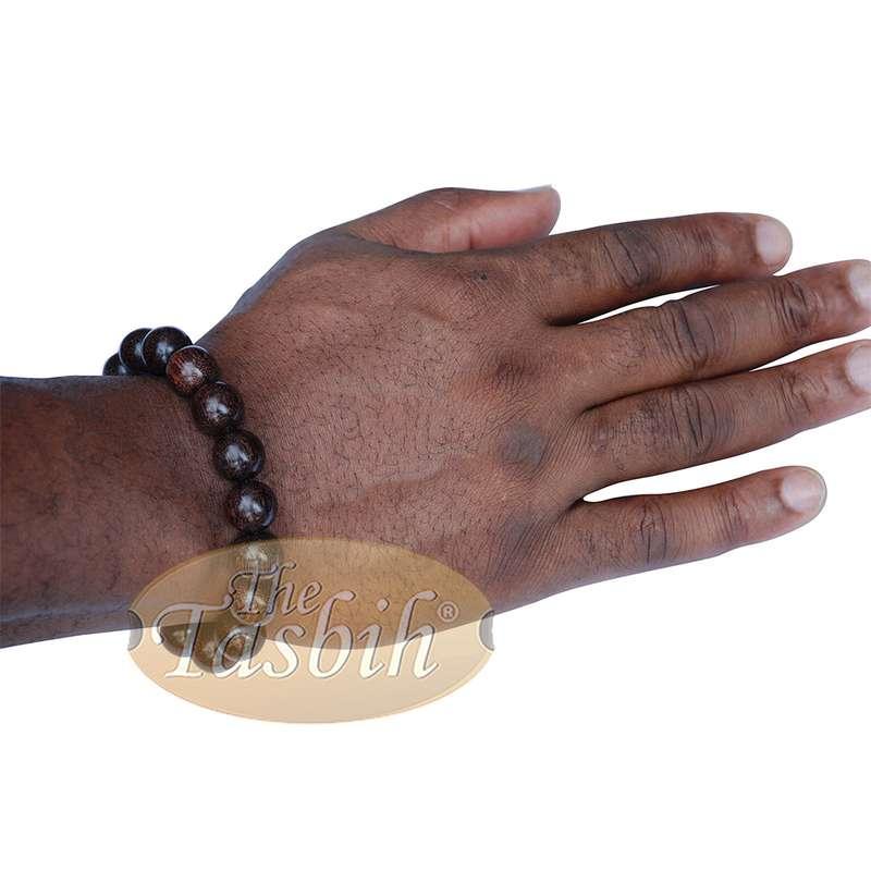 Large 12mm Handmade Dark Tamarind Wood Bracelet on Elastic Cord 8-inch Durable String