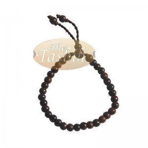 Tasbih Bracelet Handmade 33 Count Adjustable 5.5×6.5mm Tamarind Wood
