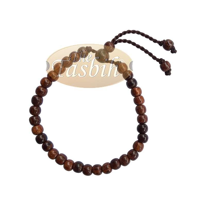 Tasbih Bracelet Handmade 33 count Adjustable 5.5x6.5mm Tamarind Wood