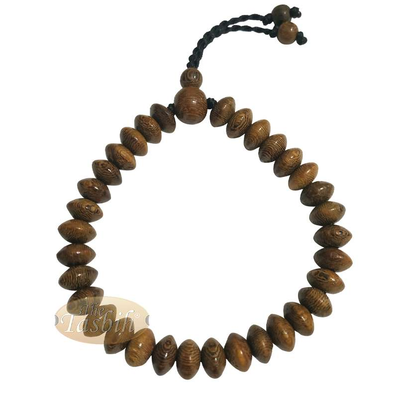 Johar Wood 33-bead Elastic String Saucer-shape 9x6mm Prayer Bead Bracelet