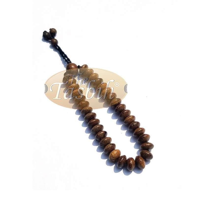 Johar Wood 33-bead Elastic String Saucer-shape 9x6mm Prayer Bead Bracelet