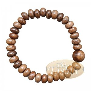 Handcrafted 9×6-mm Oud Wood 33-beads Saucer-shape Bracelet
