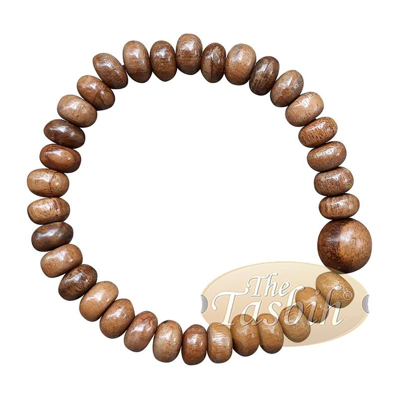 Handcrafted 9x6-mm Oud Wood 33-beads Saucer-shape Bracelet