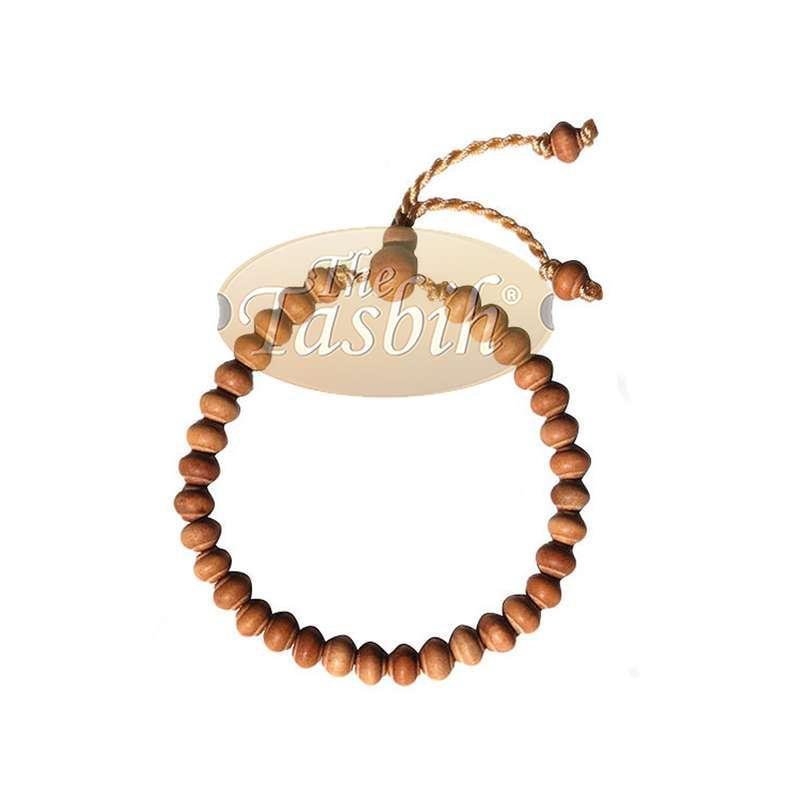 Small Handmade Adjustable Contoured-bead Sandalwood Prayer Bead Tasbih Bracelet 33-beads