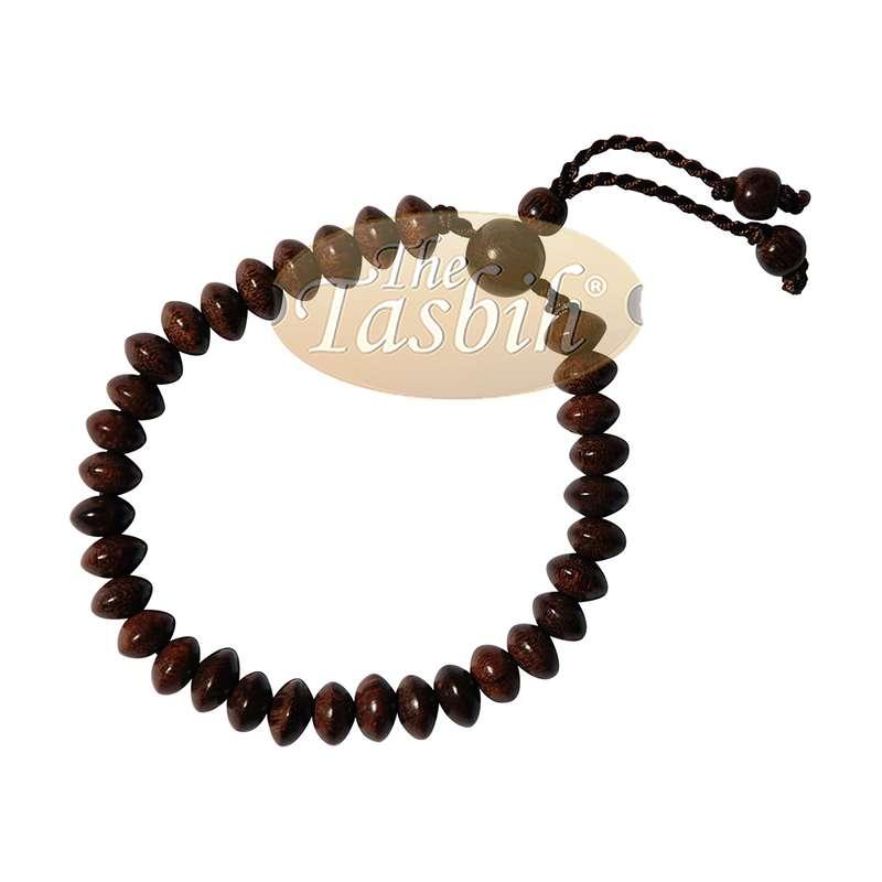 Handcrafted 9x6-mm Tamarind Wood 33-beads Saucer-shape Prayer Tasbih Bracelet