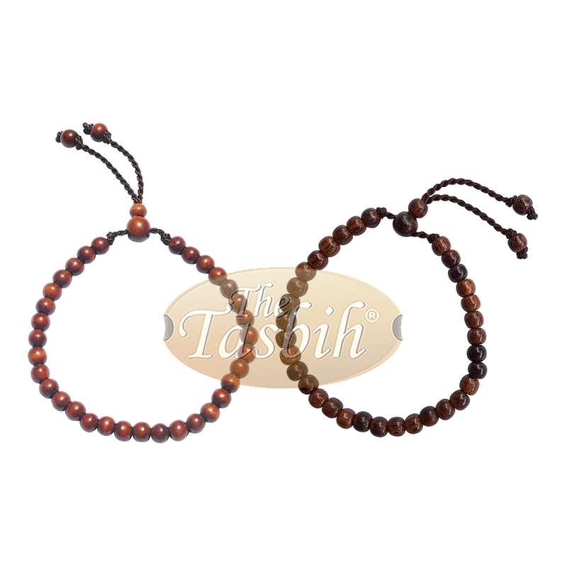 Set of Small Handmade Adjustable Tension Tamarind and Ironwood Tasbih Bracelets 33-beads