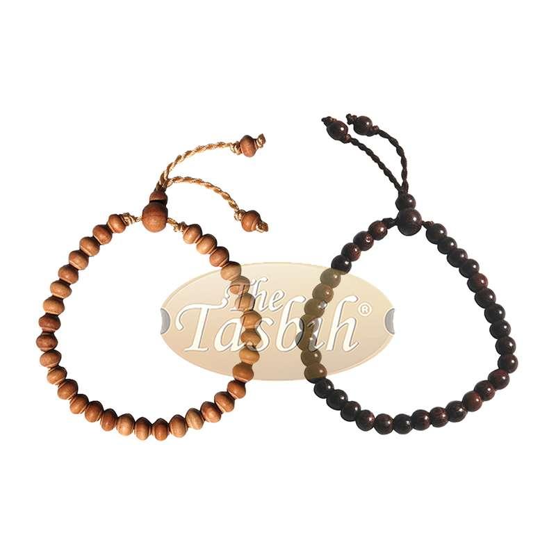Set of Small Handmade Adjustable Tension Tamarind and Sandalwood Tasbih Bracelets 33-beads