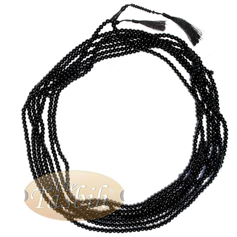1000-Bead Citrus Wood (kemuning) Tasbih - 8mm Prayer Beads - Subha Misbaha with Beautiful Black Tassels