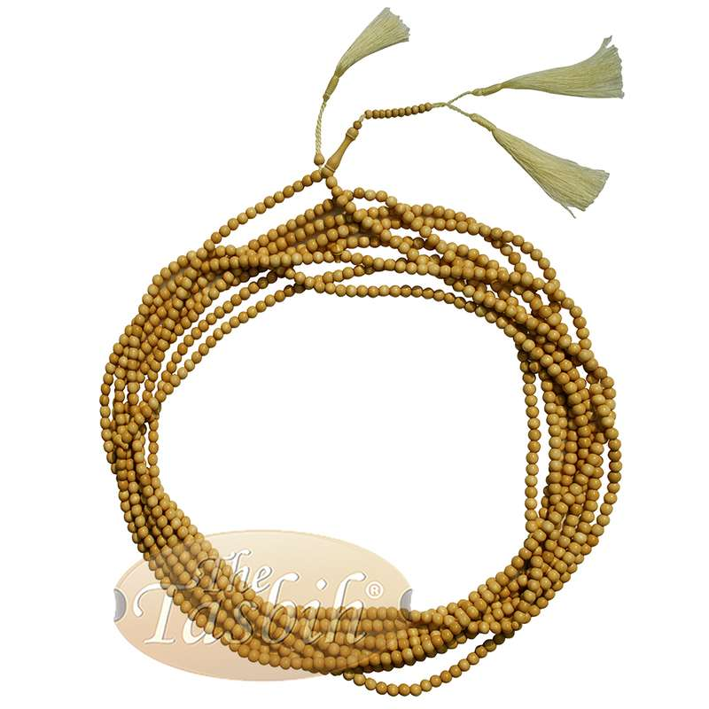 1000-Bead Exotic Yellow Citrus Wood (kemuning) Tasbih - 8mm Prayer Beads - Subha Misbaha with Beautiful Tassels