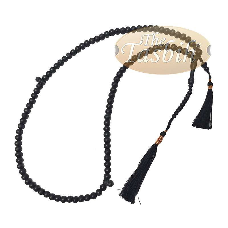 Black Tasbih Made From Citrus Wood Handcrafted Copper Wired Tassels