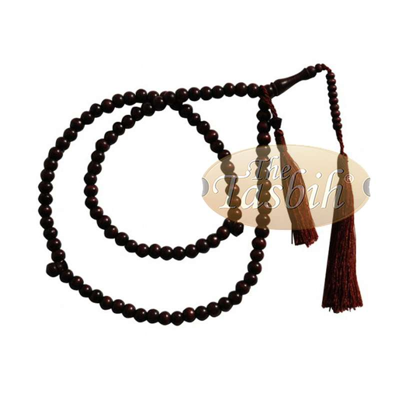 8mm Maroon-colored Citrus Wood Tasbih with Matching Tassels
