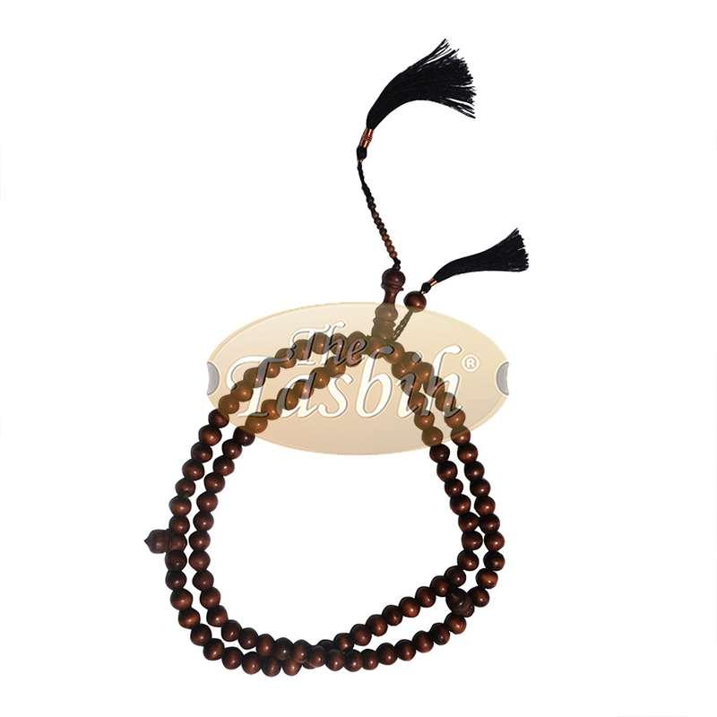 Handmade Large Dark Brown 14mm Citrus Wood Tasbih Copper-wired Tassels