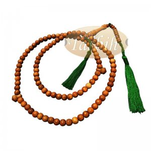 Natural Brown Color 8mm Prayer Beads Citrus Wood Tasbih With Green Tassels