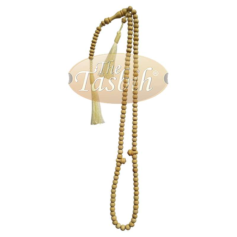 Natural Yellow Citrus Wood 6-mm Islamic Prayer Beads Tasbih Rosary 99-ct Muslim