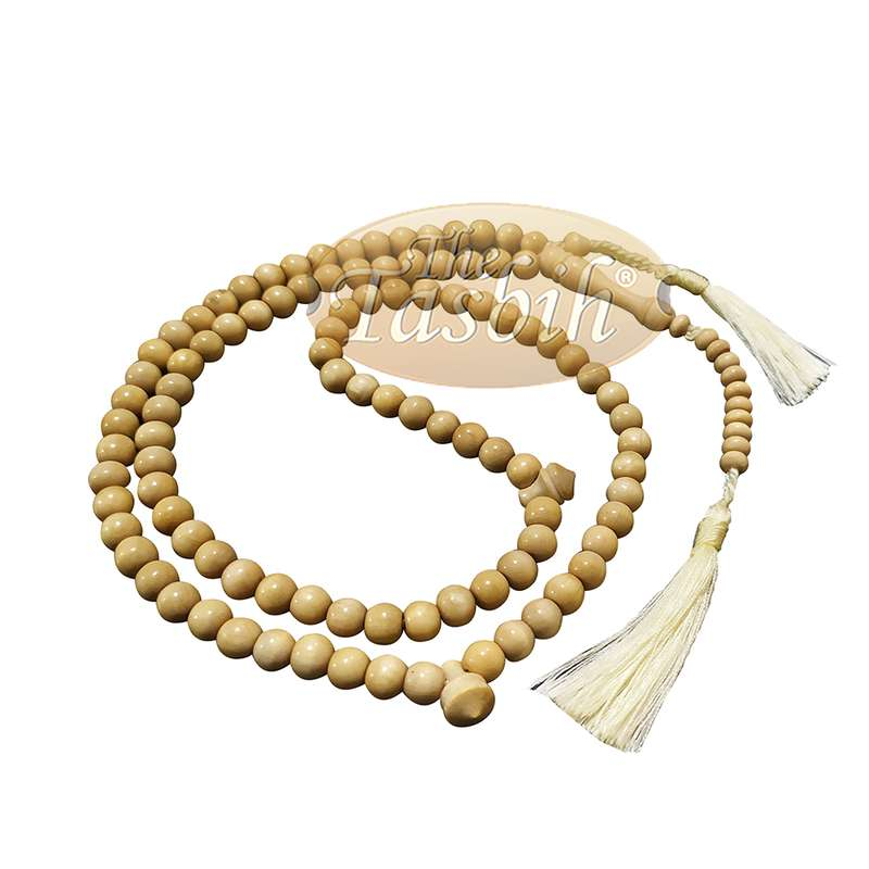 Natural Yellow Citrus Wood Tasbih 8mm 99-bead Prayer Beads 2 Tassels