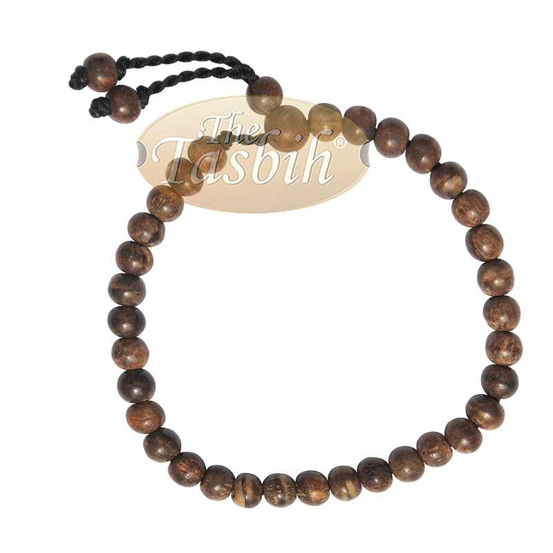Small 6mm Oud Aloeswood Agarwood Tasbih Bracelet 33-Bead Adjustable Handcrafted
