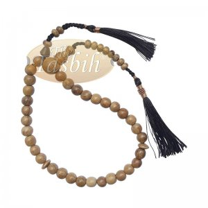 Small Natural Light Brown Oud Aloeswood Agarwood 33-Bead Muslim Prayer Beads Rosary 8mm Beads With 2 Black Copper-decorated Tassel