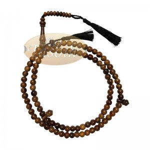 Scented Oud Light Brown Tasbih 8mm HandMade Misbaha Prayer Beads Subha With Plain Black Tassels