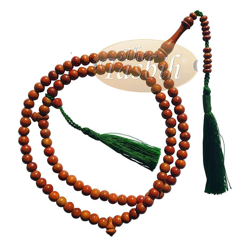 Natural Orange 8mm Indonesian Secang Wood Tasbih Prayer Beads 99 count