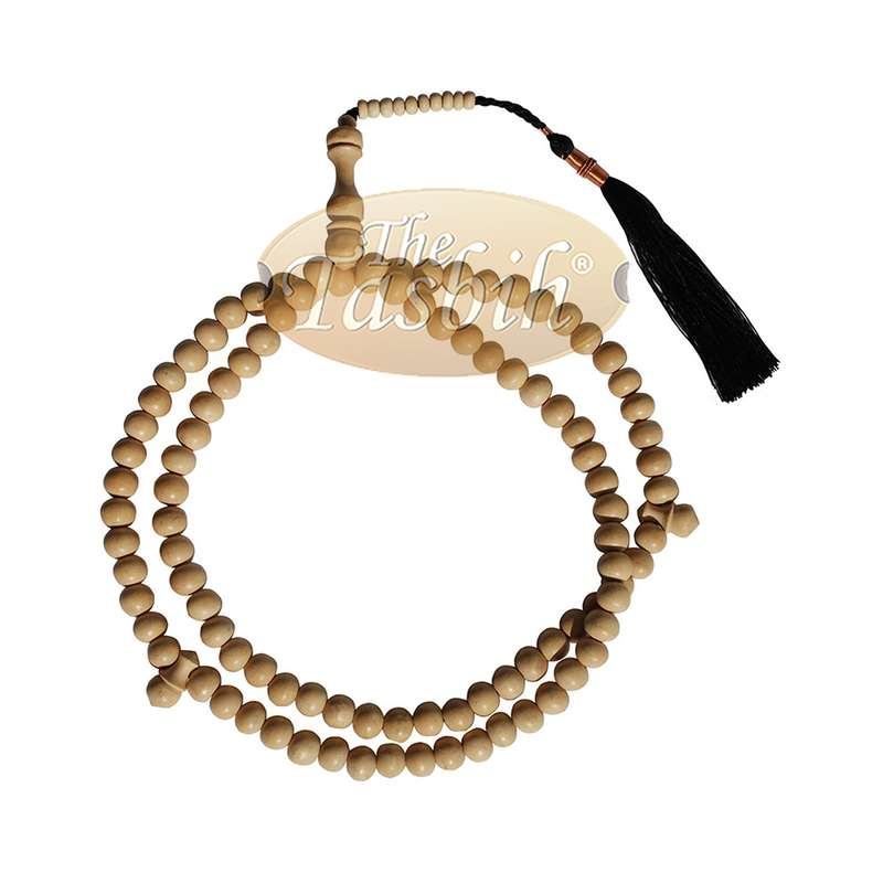 Large Off-white Coffee Tree Wood Prayer Beads Black Coppered Tassels