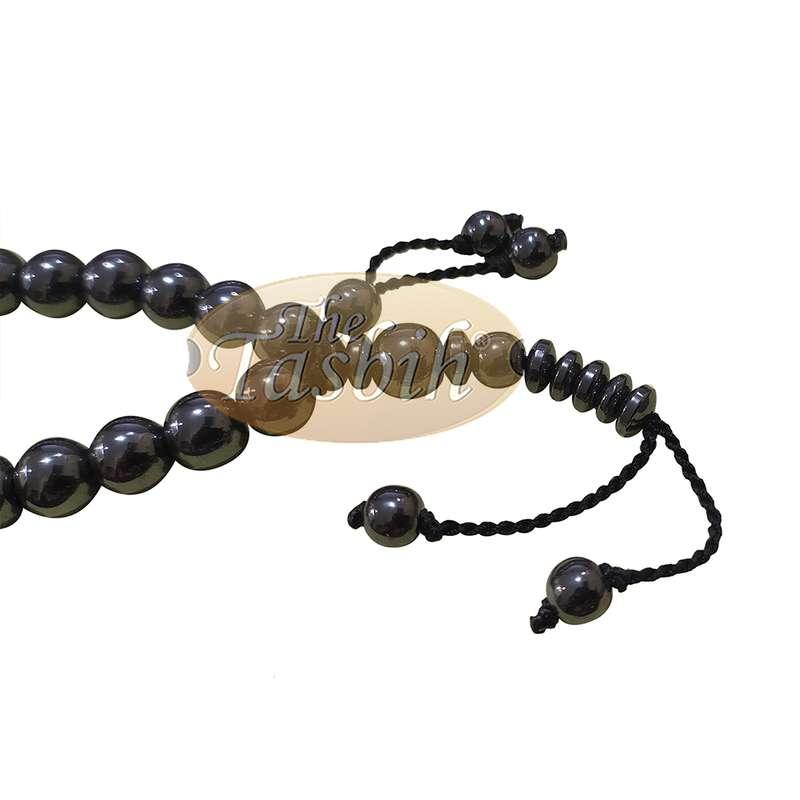 Round 33-Bead Tasbih Hematine Beads 8mm Double Dividers