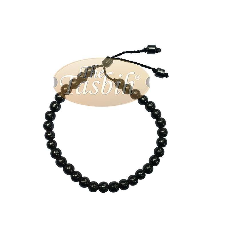 Small Tasbih Bracelet 33-Bead Hematite 6mm Round Beads with Cylinder Lock and Stops Adjustable