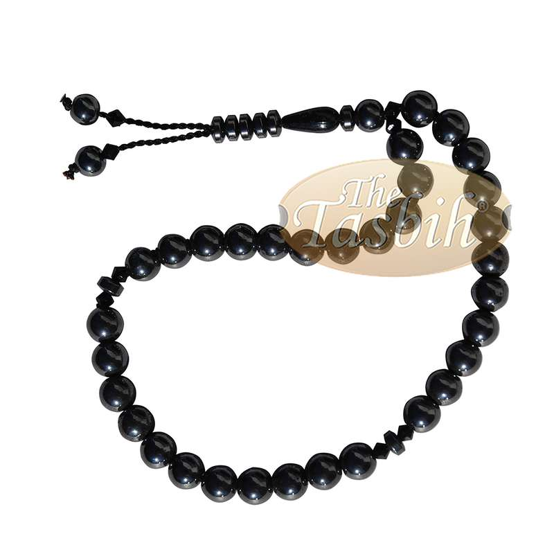 Lot of 12 -33-Bead Tasbih Made From Natural Hematine - 8mm Round Beads - Prayer Beads - zikr Beads Muslim Rosary