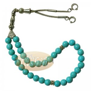 Created Turquoise 33-bead Tasbih With Crescent Moon Kizilay Charms