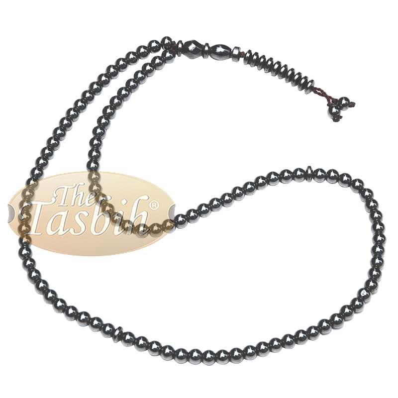 99-bead Tasbih Hematite 6mm Round Beads with Dividers Muslim Rosary