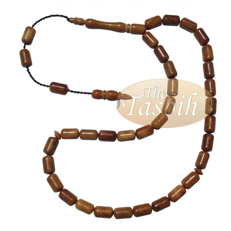 33-Bead Barrel Shape 6x10mm Natural Color Kuka Muslim Prayer Beads Misbaha Dhikr Tesbih