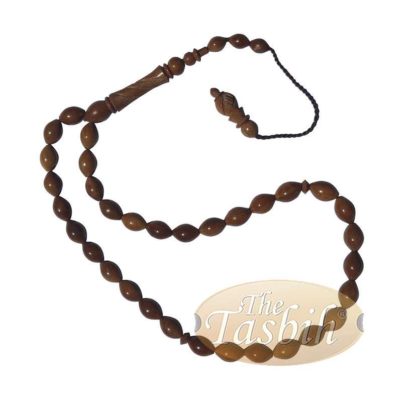 Small Date Seed Shape 33-bead Turkish Kuka Prayer Tesbih Carved Alif