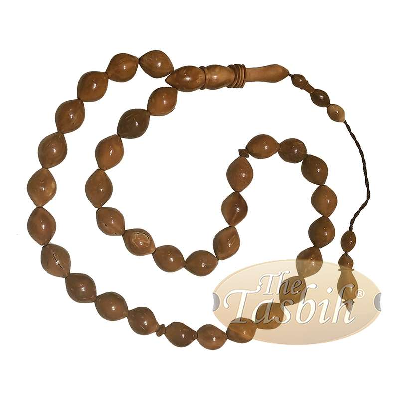 Exotic 33-Ct Date-Shaped 9x12mm Natural Color Kuka Prayer Beads with Rings on Alif