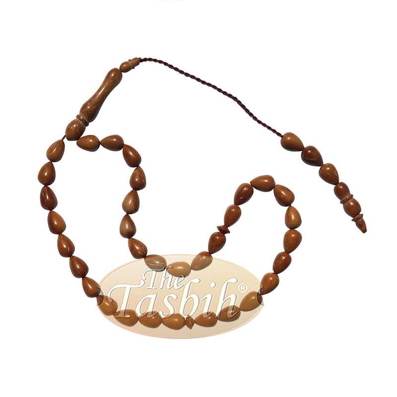 Small Kuka Tesbih Islamic Prayer Beads 6.5x9-mm Pear-shaped Natural Color Genuine Turkish Tasbih Style Sibha