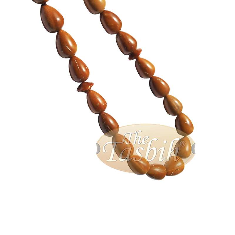 High Quality 7x10mm Pear Shape Natural Kuka Koka Color 33-bead Tasbih Muslim Subha