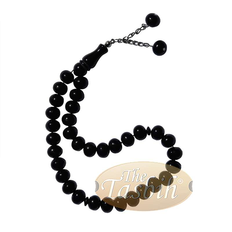 33-bead Large 12x9.5mm Black Monomer Muslim Tasbih 2 Chain Tassel