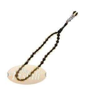 X-small 33-bead Translucent Yellow Black Monomer Prayer Tasbih