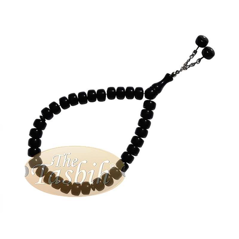 33-bead Barrel Shape 12x8mm Black Monomer Prayer Tasbih Chain Tassel