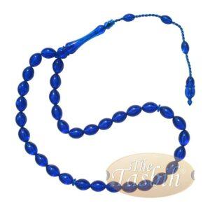 Muslim Tasbih Tapered Oval Translucent Blue 33 8×12.5mm Monomer Beads