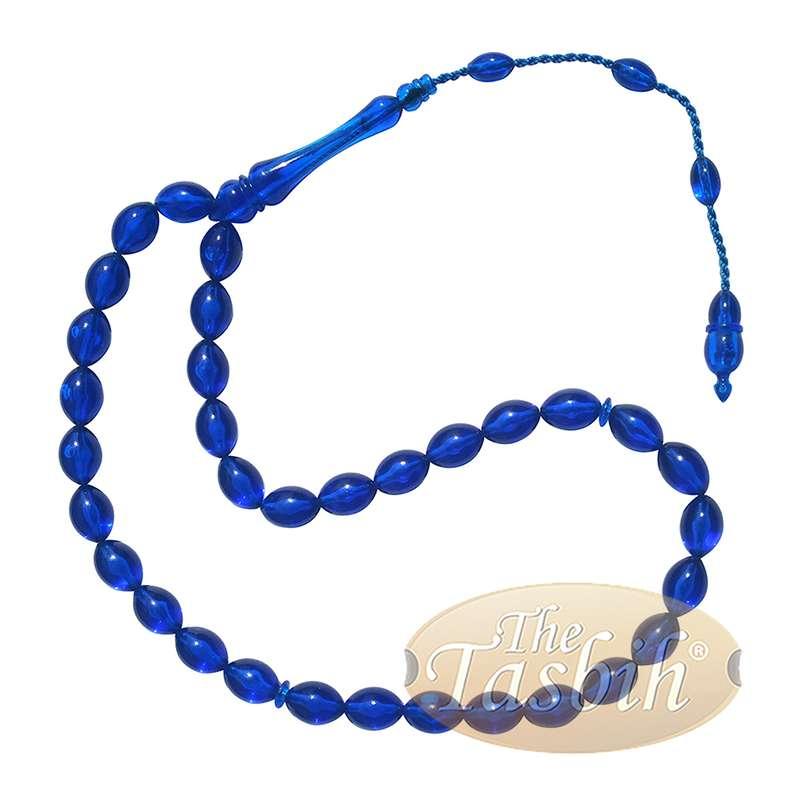 Muslim Tasbih Tapered Oval Translucent Blue 33 8x12.5mm Monomer Beads
